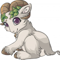 White goat with pink eyes and light brown horns