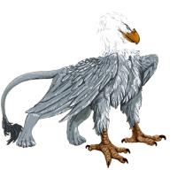 silver gryphon with white head like an eagle