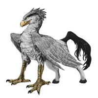 Gray hippogriff with tan beak and front paws