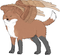 Red fox patterned winged wolf