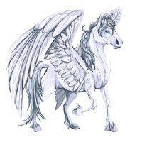 A white pegasus with blue eyes