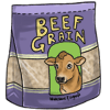 Purple beef grain bag with tan cow head in the center